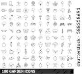 100 garden icons set in outline ... | Shutterstock .eps vector #588358691