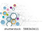 Vector illustration science innovation concept. Circuit board and hexagons or polygon background. Hi tech digital technology. Abstract futuristic, hexagon shape on light gray color background | Shutterstock vector #588363611