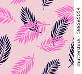 seamless palm pink pattern | Shutterstock .eps vector #588365054