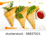mexico cuisine - quesadilla. Isolated on white - stock photo