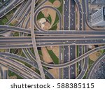 aerial view of road junction... | Shutterstock . vector #588385115