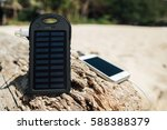 battery solar energy device on... | Shutterstock . vector #588388379