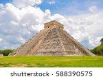 chichen itza pyramid  yucatan ... | Shutterstock . vector #588390575