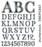 handwritten vintage alphabet.... | Shutterstock .eps vector #588391865