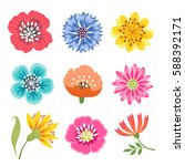 Stock vector set of bright colorful flowers isolated on white background 588392171