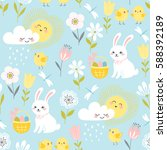 cute easter pattern with... | Shutterstock .eps vector #588392189