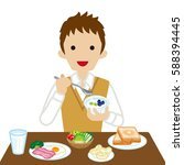schoolboy eating  breakfast ... | Shutterstock .eps vector #588394445