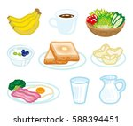 isolated food set for breakfast | Shutterstock .eps vector #588394451