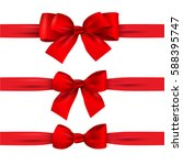 set of red bows with horizontal ... | Shutterstock .eps vector #588395747