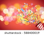 exploding party popper on... | Shutterstock .eps vector #588400019