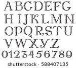 handwritten vintage alphabet.... | Shutterstock .eps vector #588407135