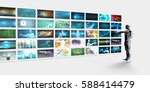 video screens wall with man... | Shutterstock . vector #588414479