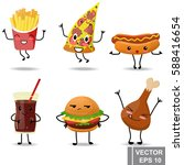 cartoon food. emotions. funny.... | Shutterstock .eps vector #588416654