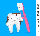 dirty tooth character with... | Shutterstock .eps vector #588419081