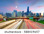 chicago downtown skyline at... | Shutterstock . vector #588419657
