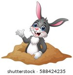 Stock vector vector illustration of cartoon rabbit out of holes in the ground 588424235