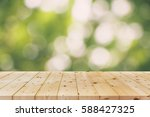 bokeh and wood floor. beauty... | Shutterstock . vector #588427325