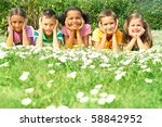 portrait of cute kids lying on... | Shutterstock . vector #58842952