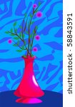 illustration of flower vase in... | Shutterstock . vector #58843591