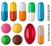 Many colorful pills and tablets ...