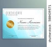 vector diploma certificate... | Shutterstock .eps vector #588439571