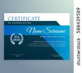 modern blue certificate and