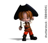 sweet and funny cartoon pirate... | Shutterstock . vector #58844041