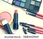 professional makeup brushes and ... | Shutterstock . vector #588443969
