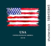 usa flag grunge style on dark... | Shutterstock .eps vector #588450845