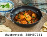 prawn curry with rice and... | Shutterstock . vector #588457361