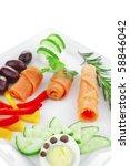 smoked salmon rolls on white...   Shutterstock . vector #58846042