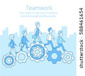 linear flat businesspeople... | Shutterstock .eps vector #588461654