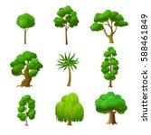 flat green trees vector... | Shutterstock .eps vector #588461849