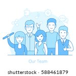 linear flat team of young man... | Shutterstock .eps vector #588461879