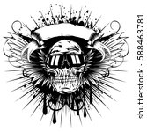 vector illustration skull with... | Shutterstock .eps vector #588463781
