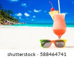 glass of fruit cocktail and... | Shutterstock . vector #588464741