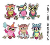 six cute colorful cartoon owls...