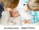 two little kids boys with... | Shutterstock . vector #588475541