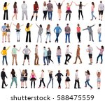 collection back view people .... | Shutterstock . vector #588475559