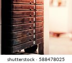 stack of rusty metal weights in ... | Shutterstock . vector #588478025