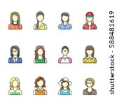 icon set of different woman... | Shutterstock .eps vector #588481619