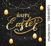 golden lettering happy easter... | Shutterstock . vector #588484871