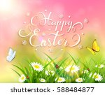 easter theme with a butterfly... | Shutterstock . vector #588484877