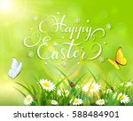 easter theme with a butterfly... | Shutterstock . vector #588484901