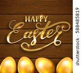 golden easter eggs on a wooden... | Shutterstock . vector #588485819