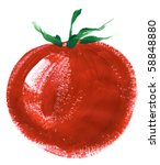 painting of big red tomato over ... | Shutterstock . vector #58848880