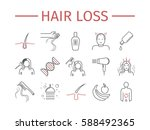 hair loss. line icons set.... | Shutterstock .eps vector #588492365
