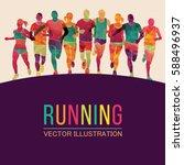 running marathon  people run ... | Shutterstock .eps vector #588496937