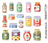 collection of various tins... | Shutterstock .eps vector #588497729