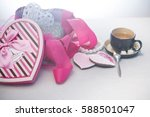 cup of tea and cakes. box as...   Shutterstock . vector #588501047